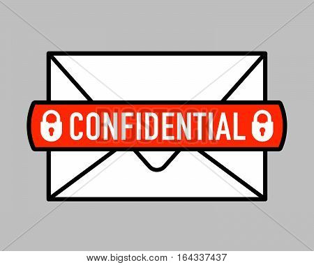 Icon of confidential mail. Letter with padlock symbol. Vector illustration.