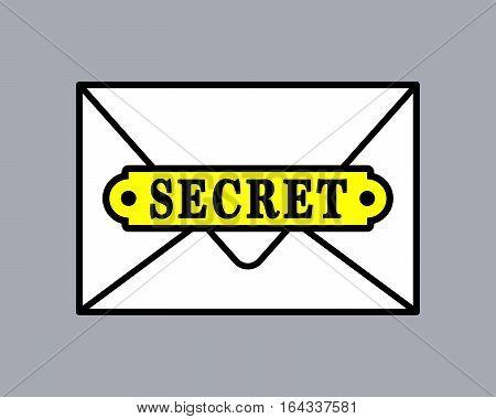 Top secret document icon in envelope. Vector illustration