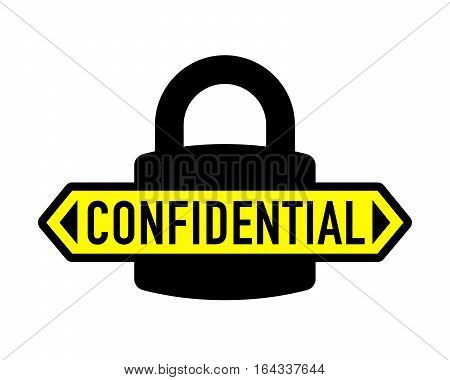 Confidential padlock security icon with sticker vector illustration