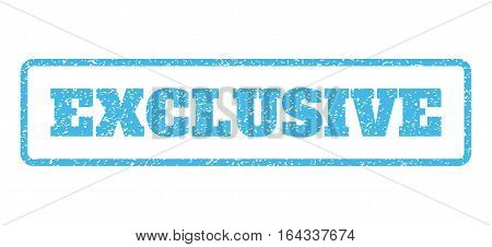 Light Blue rubber seal stamp with Exclusive text. Vector caption inside rounded rectangular shape. Grunge design and dust texture for watermark labels. Horisontal sign on a white background.