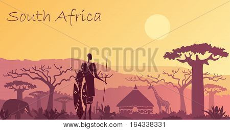 Sunset in Africa with the silhouettes of elephant, giraffe, national home and native