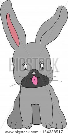 vector illustration of cute dog with long ears isolated