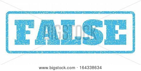 Light Blue rubber seal stamp with False text. Vector caption inside rounded rectangular banner. Grunge design and dust texture for watermark labels. Horisontal emblem on a white background.