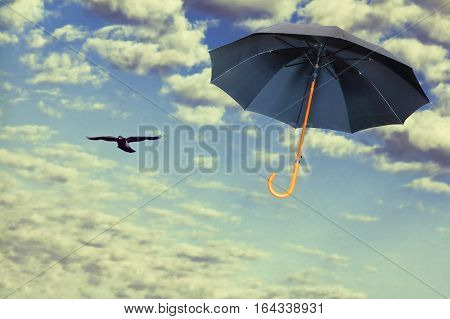 Mary Poppins Umbrella.Black umbrella flies in dramatic sky.Wind of change concept.