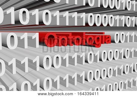 ontologia in the form of binary code, 3D illustration