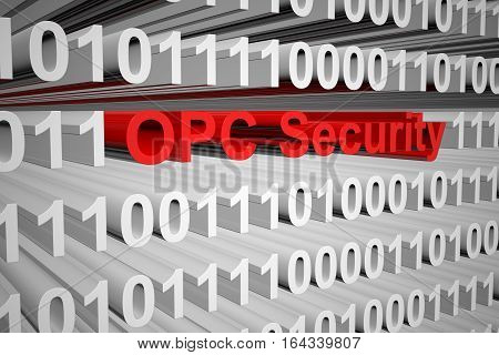 OPC Security in the form of binary code, 3D illustration