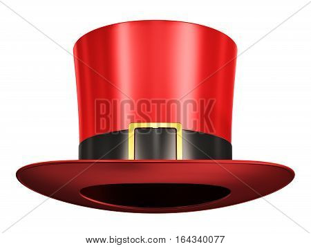 Creative abstract 3D render illustration of the red silk magic hat with black ribbon isolated on white background