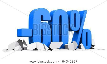 3D render illustration of blue minus 60 percent sign or symbol price cut off text on cracked surface isolated on white background