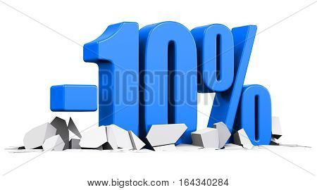 3D render illustration of blue minus 10 percent sign or symbol price cut off text on cracked surface isolated on white background