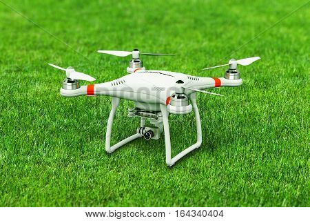 Creative abstract 3D render illustration of professional remote controlled wireless RC quadcopter drone with 4K video and photo camera for aerial photography on green grass field with selective focus effect