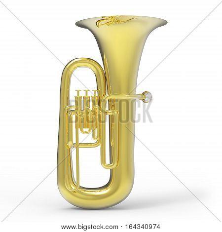 Tuba on white background 3D rendering illustration