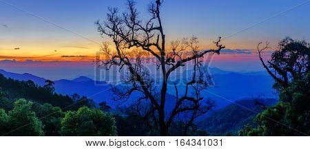 Dawn On The Mountain Landscape From Mae, Kampong Village Thailand