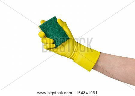 Cleaning conept - hand cleaning glass window pane with detergent and sponge. Isolated on white background