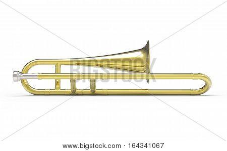 Trombone on white background 3D rendering illustration