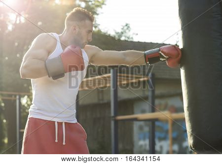 Strong muscular boxer in red boxing gloves. Training at sunset