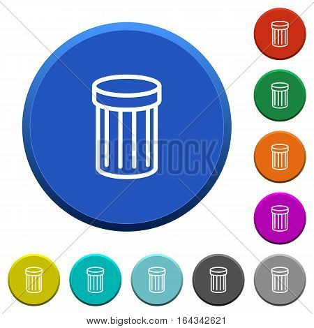 Trash round color beveled buttons with smooth surfaces and flat white icons
