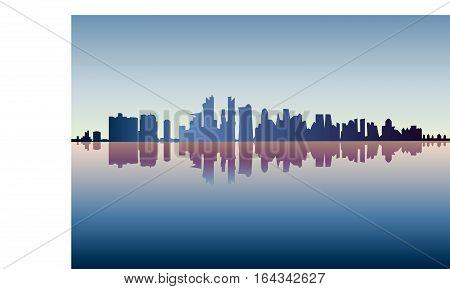 City of Chicago silhouette by nightfall - Vector