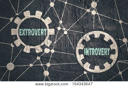Extrovert and introvert metaphor. Image relative to human psychology. Molecule And Communication Background. Grunge textured backdrop. Connected lines with dots.