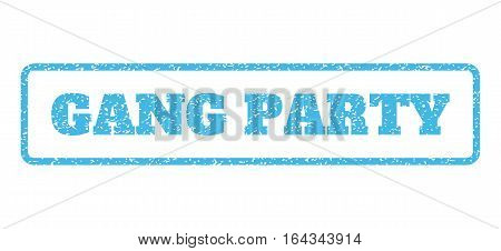 Light Blue rubber seal stamp with Gang Party text. Vector caption inside rounded rectangular frame. Grunge design and scratched texture for watermark labels. Horisontal sticker on a white background.