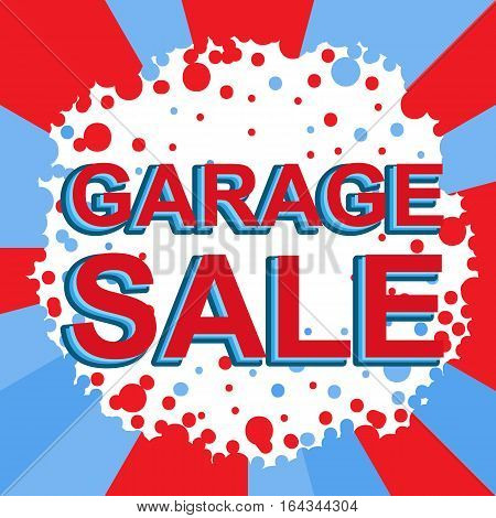 Red And Blue Sale Poster With Garage Sale Text. Advertising Banner