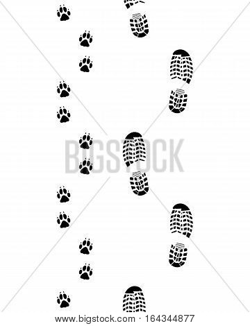 Prints of shoes and paws of dog, seamless illustration