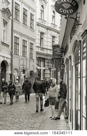 PRAGUE, CZECH REPUBLIK - OCTOBER 18, 2016: Tourists from all over the world in the Old Town of Prague. The old town with its many shops is one of the most popular tourist destinations in Prague