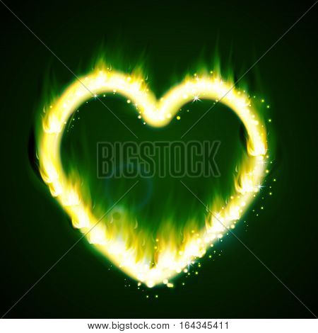 flame heart on the dark background green and magic