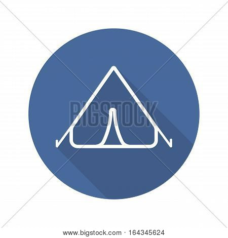 Tent flat linear long shadow icon. Night camping. Vector line symbol