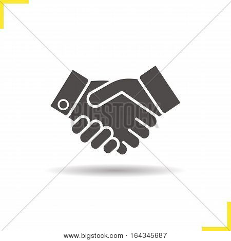 Handshake icon. Drop shadow partnership silhouette symbol. Business agreement. Shaking hands. Negative space. Vector isolated illustration