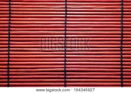 Close Up Of Red Bamboo Mat Background