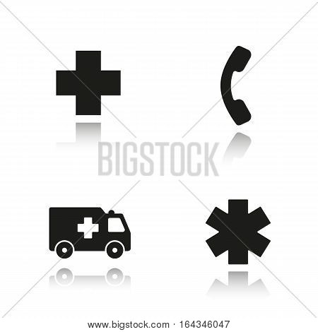 Ambulance drop shadow black icons set. Hospital cross sign, hot line telephone symbol, ambulance car, star of life. Isolated vector illustrations