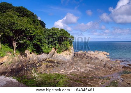Nice view of the bay at low tide. Combe Martin. North Devon. UK