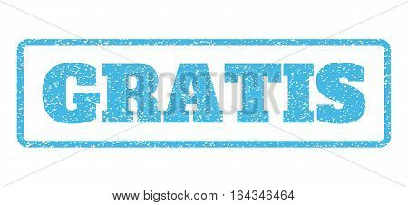 Light Blue rubber seal stamp with Gratis text. Vector caption inside rounded rectangular frame. Grunge design and unclean texture for watermark labels. Horisontal sticker on a white background.