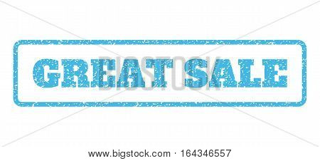 Light Blue rubber seal stamp with Great Sale text. Vector caption inside rounded rectangular banner. Grunge design and scratched texture for watermark labels. Horisontal emblem on a white background.