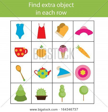 Find extra object in sequence row. Educational children game. Logic kids activity