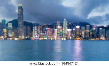 Blurred bokeh lights Hong Kong city downtown panorama abstract background
