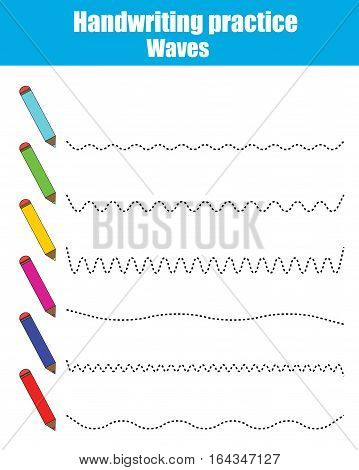 Handwriting practice sheet. Educational children game, restore the dashed line. Writing training printable worksheet. Drawing waves