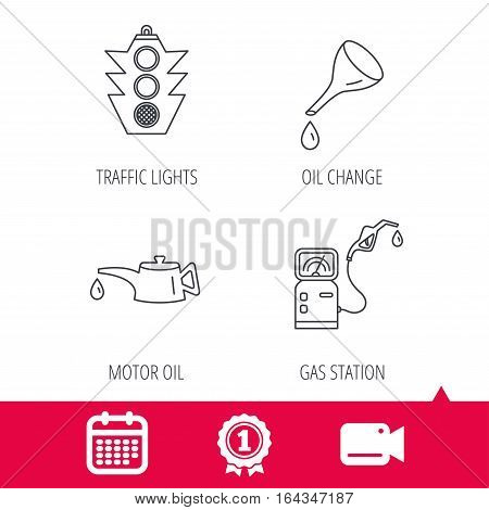 Achievement and video cam signs. Motor oil change, traffic lights and gas station icons. Petrol station linear sign. Calendar icon. Vector