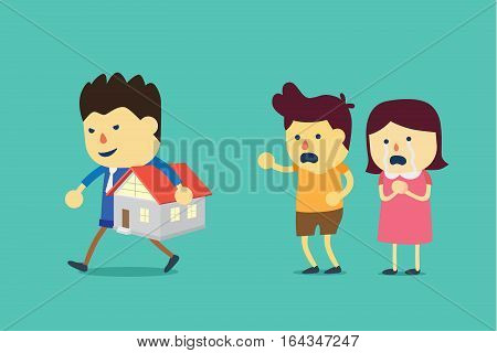 Home is seized by loan officer because owner unable to pay for debt.
