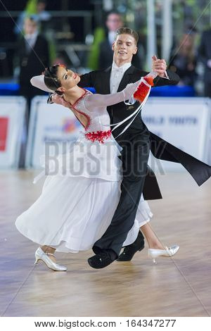 Riga Latvia- December 17 2016: Unidentified Adult Dance Couple Performs Youth Standard European Program on the WDSF Baltic Grand Prix-2106 Championship in December 17 2016 in Riga Latvia.
