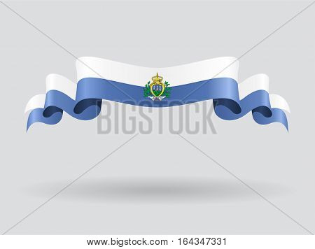 San Marino flag wavy abstract background. Vector illustration.