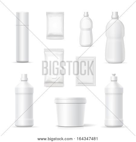 Set of bottles and packages of detergents and cleaning household products for bathroom and kitchen. Vector blank Packaging containers template