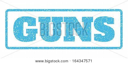 Light Blue rubber seal stamp with Guns text. Vector tag inside rounded rectangular frame. Grunge design and dust texture for watermark labels. Horisontal sign on a white background.