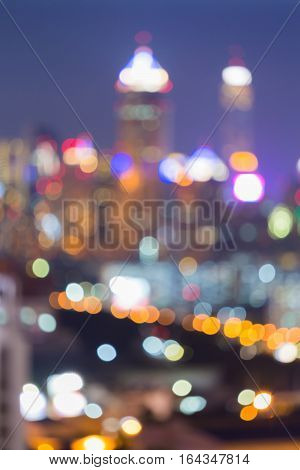 Blurred bokeh lights Office central business downtown abstract background