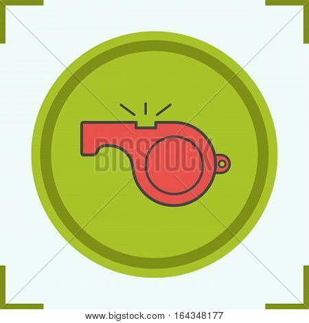 Whistle color icon. Sport coach whistle. Isolated vector illustration