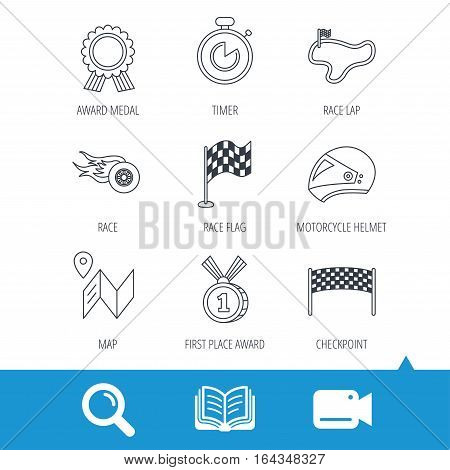 Race flag and speed icons. Winner medal, motorcycle helmet and timer linear signs. Map navigation flat line icons. Video cam, book and magnifier search icons. Vector