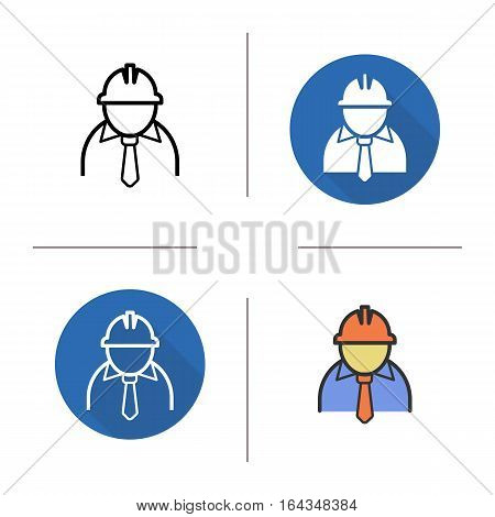 Engineer icon. Flat design, linear and color styles. Factory chief. Architect isolated vector illustrations
