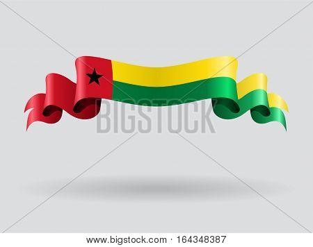 Guinea-Bissau flag wavy abstract background. Vector illustration.
