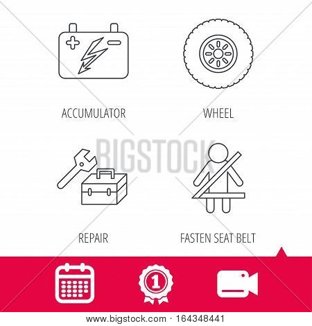 Achievement and video cam signs. Accumulator, wheel and car service icons. Repair toolbox, fasten seat belt linear signs. Calendar icon. Vector