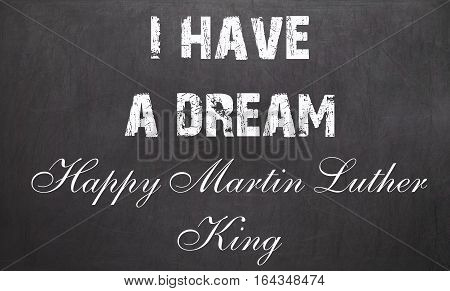 Happy Martin Luther King Day Free Typography Greeting Card On Chalkboard Background